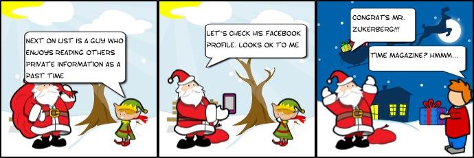 Santa uses facebook comic